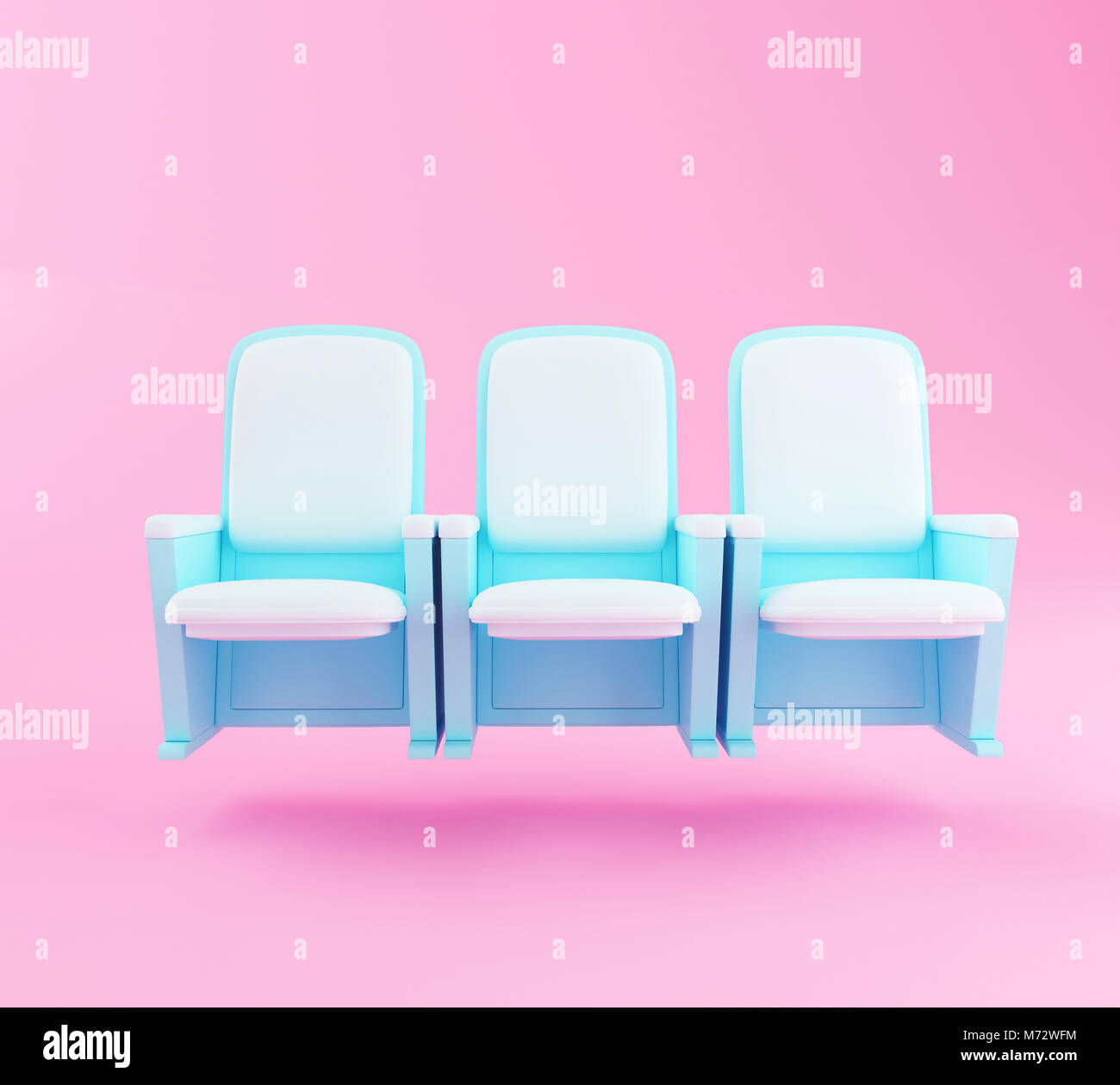 3d Illustration Cartoon Theater Seats On Pink Background Cinema And Stock Photo Alamy