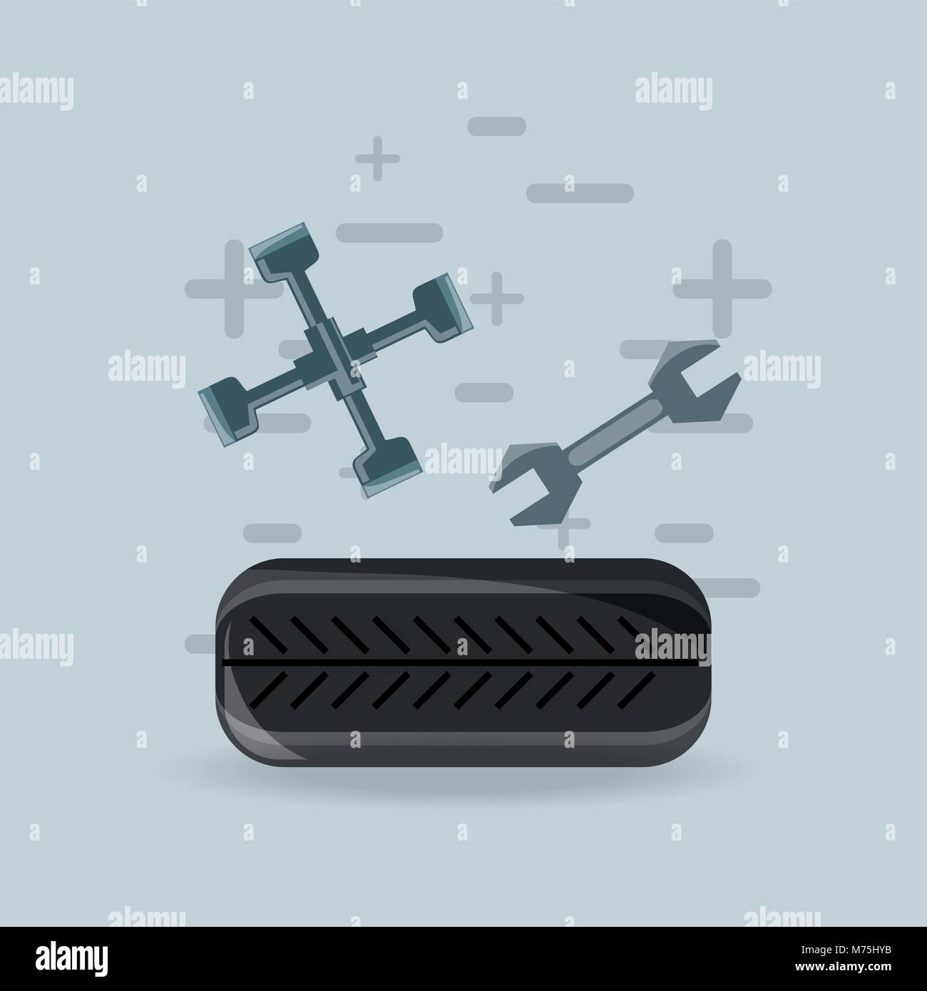 hight resolution of car tire with lug wrench and wrench over gray background colorful design vector illustration
