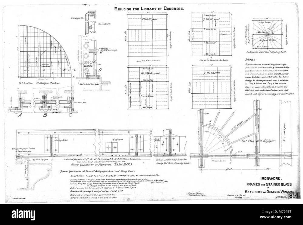 medium resolution of library of congress washington d c frames for stained glass in skylights and octagon windows ironwork details working drawing lccn2001695753