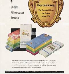 1950s original old vintage advertisement advertising cotton sheets pillowcases towels by horrockses in magazine  [ 954 x 1390 Pixel ]