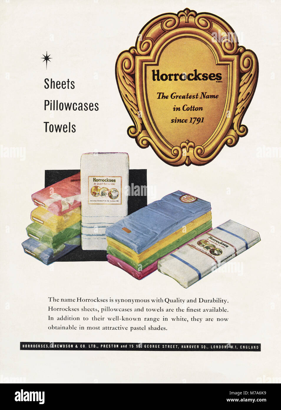 medium resolution of 1950s original old vintage advertisement advertising cotton sheets pillowcases towels by horrockses in magazine