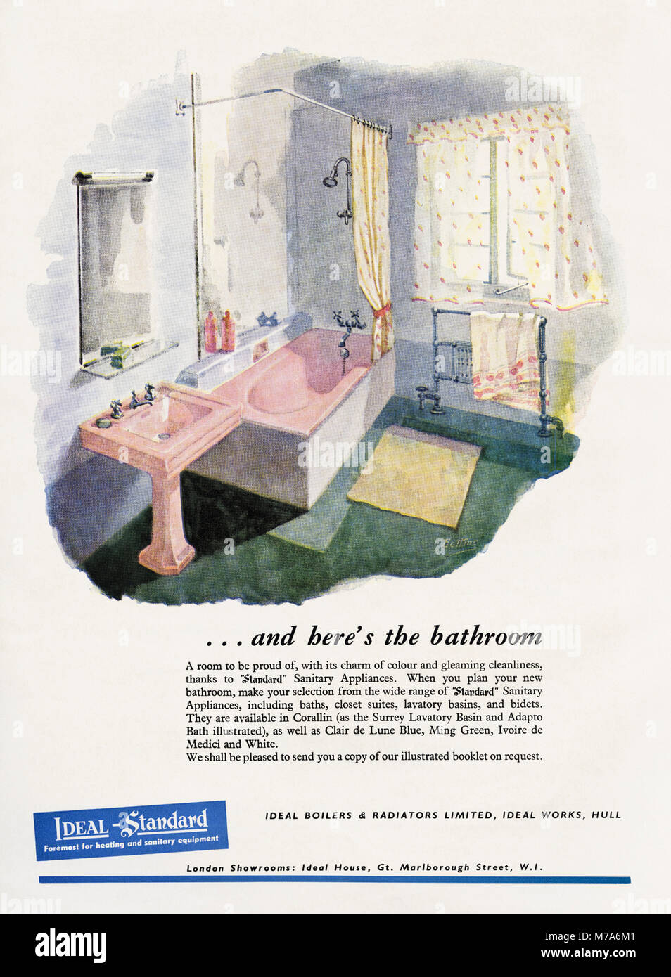 hight resolution of 1950s original old vintage advertisement advertising bathrooms by ideal standard of hull in magazine circa 1950
