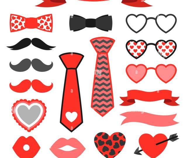 Happy Valentines Day Icons Set Hipster Objects And Love Holiday Symbols