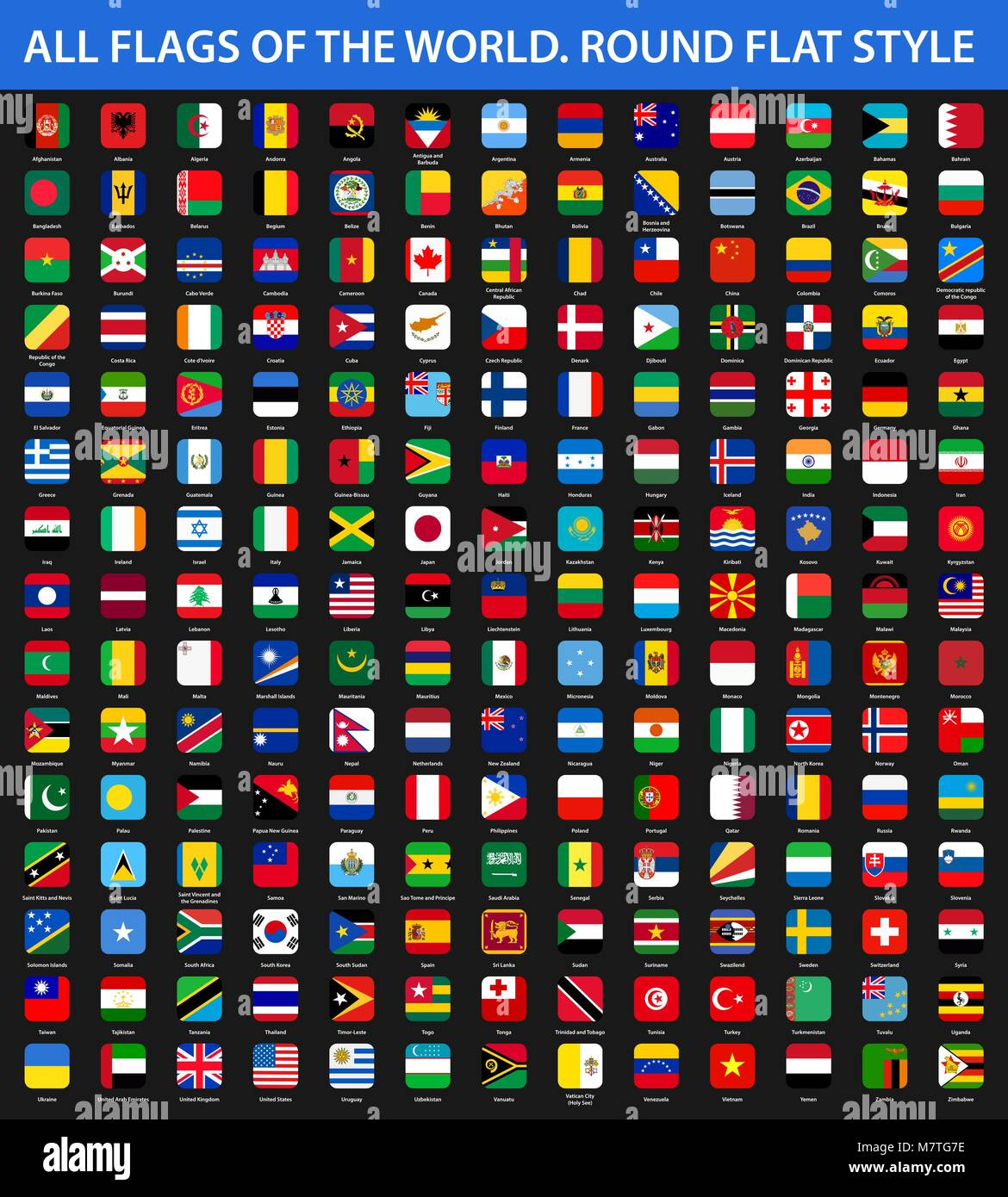 All Flags Of The World In Alphabetical Order Round Flat