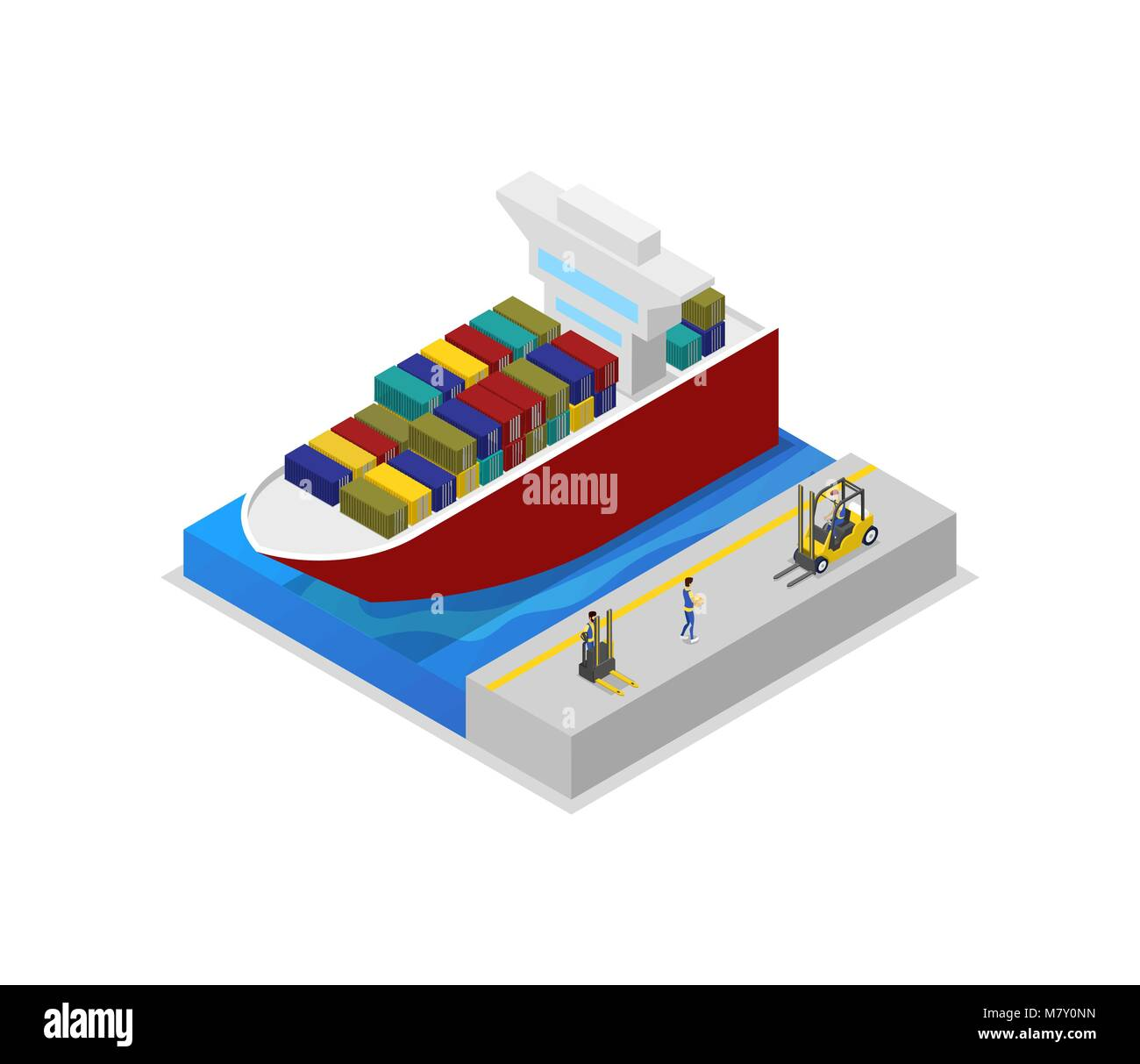 hight resolution of container ship in port isometric 3d icon