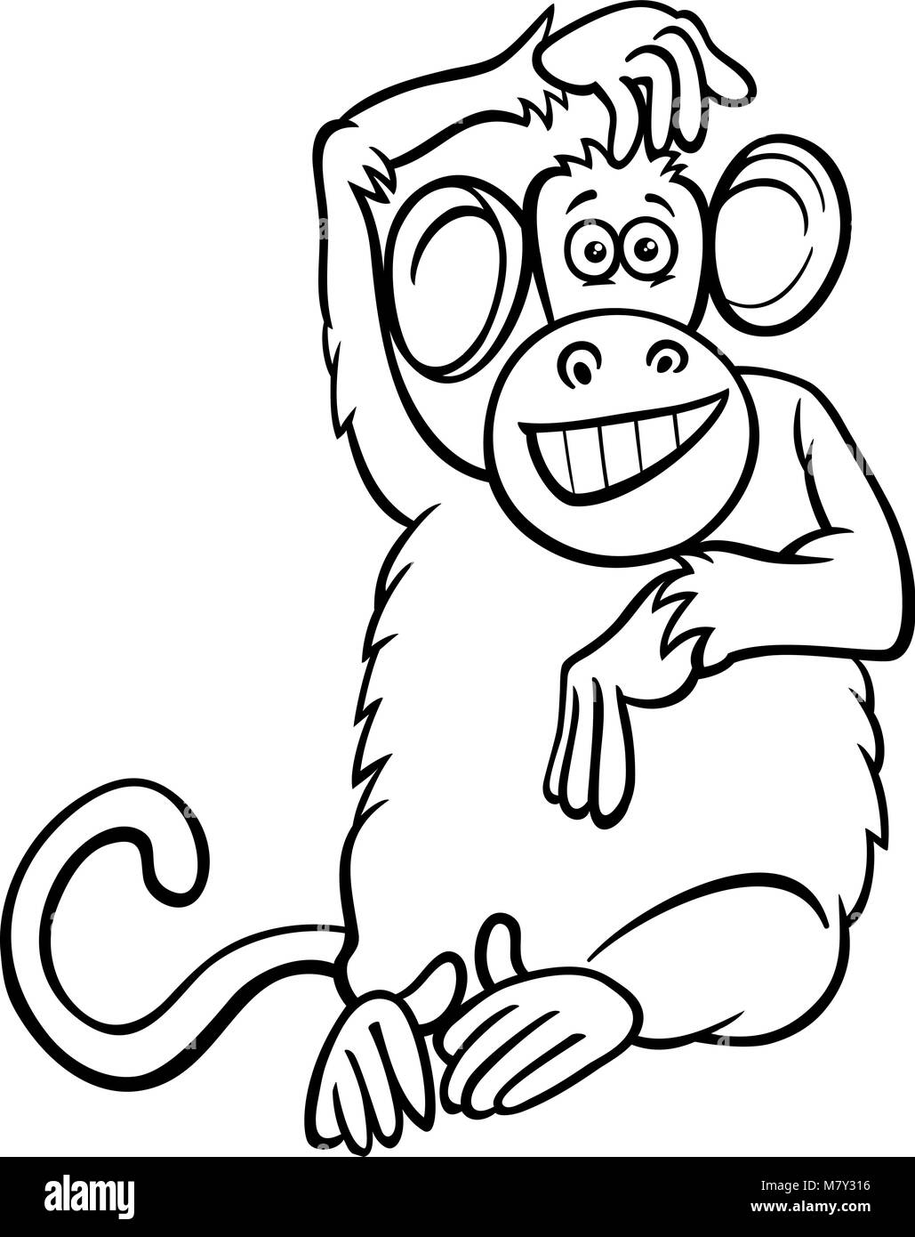 Funny Monkey Drawing : funny, monkey, drawing, Black, White, Cartoon, Illustration, Funny, Monkey, Primate, Animal, Stock, Vector, Image, Alamy