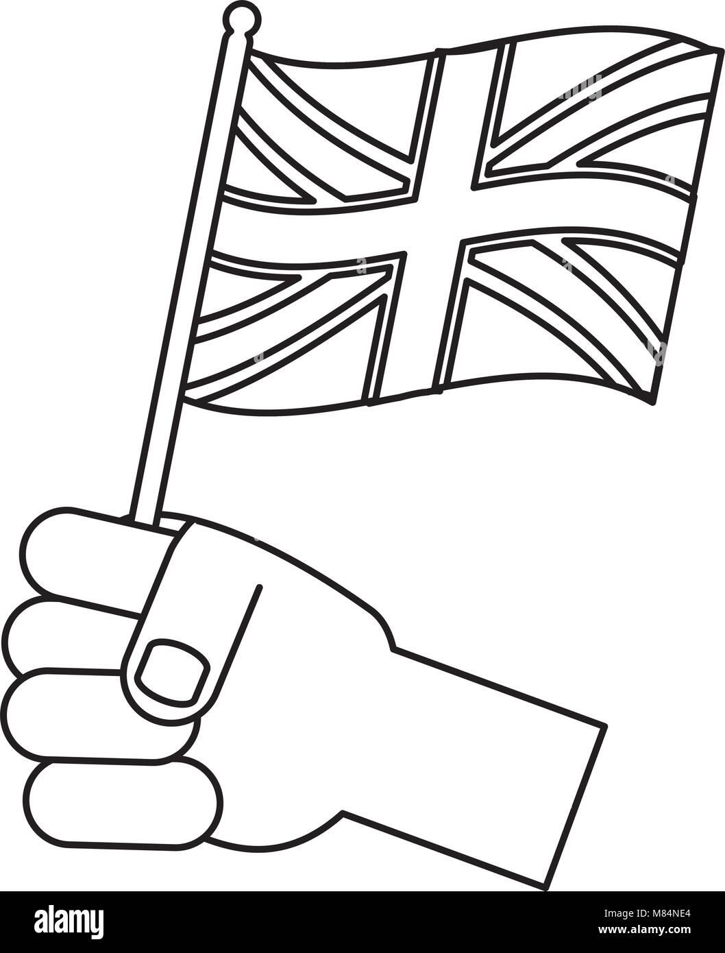 Hand holding a flag of united kingdom over white background vector illustration stock image