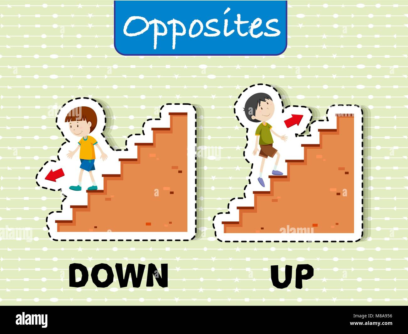 Opposite Words For Down And Up Illustration Stock Vector
