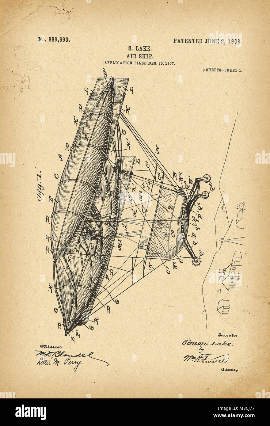 hight resolution of 1907 patent flying machine air ship history invention