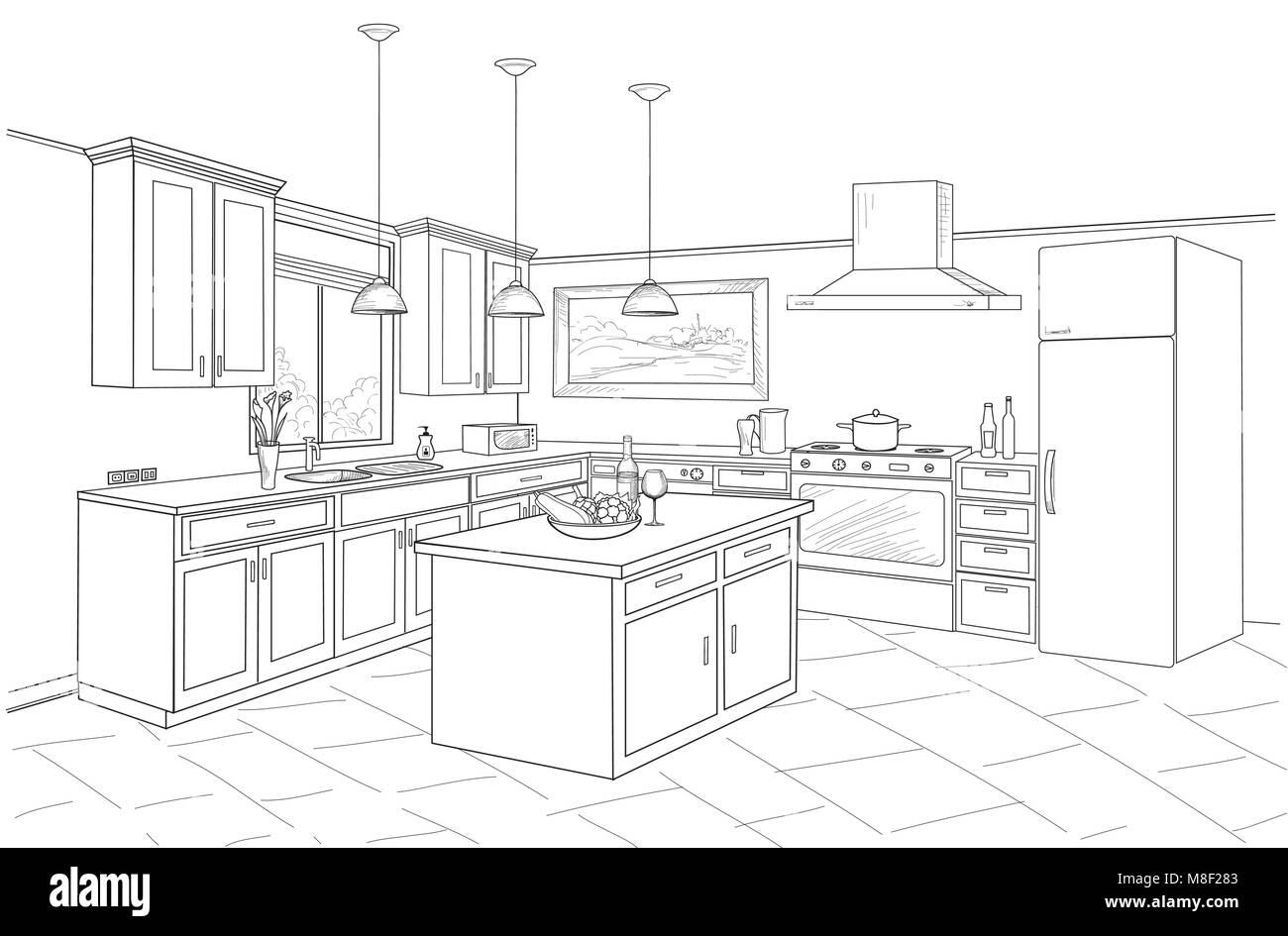 Interior Sketch Of Kitchen Room Outline Blueprint Design