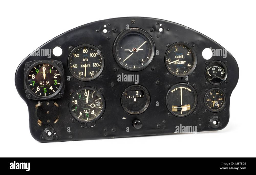 medium resolution of 1950s de havilland dhc 1 chipmunk aircraft instrument panel made by the sperry gyroscope co