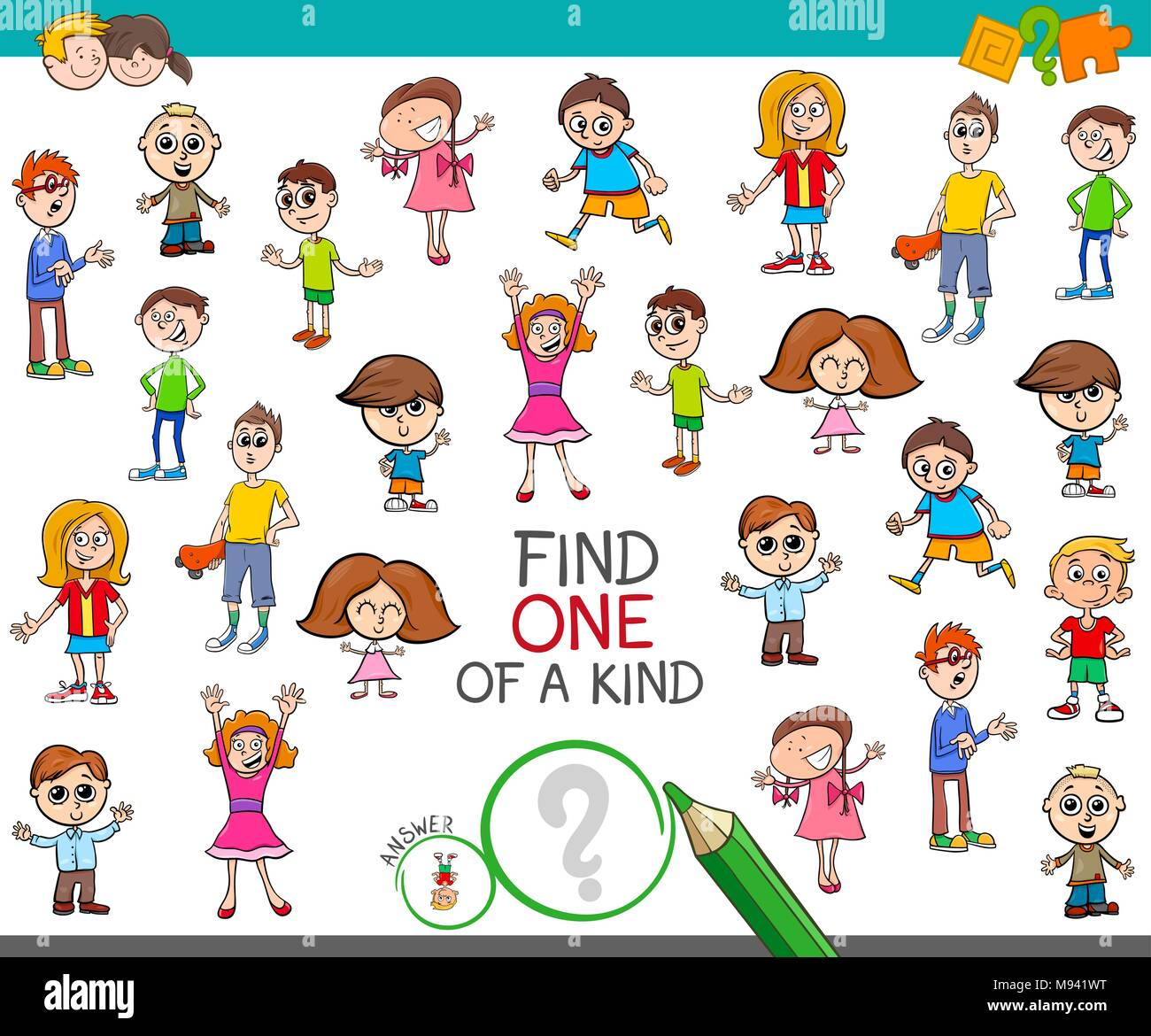 Cartoon Illustration Of Find One Of A Kind Picture
