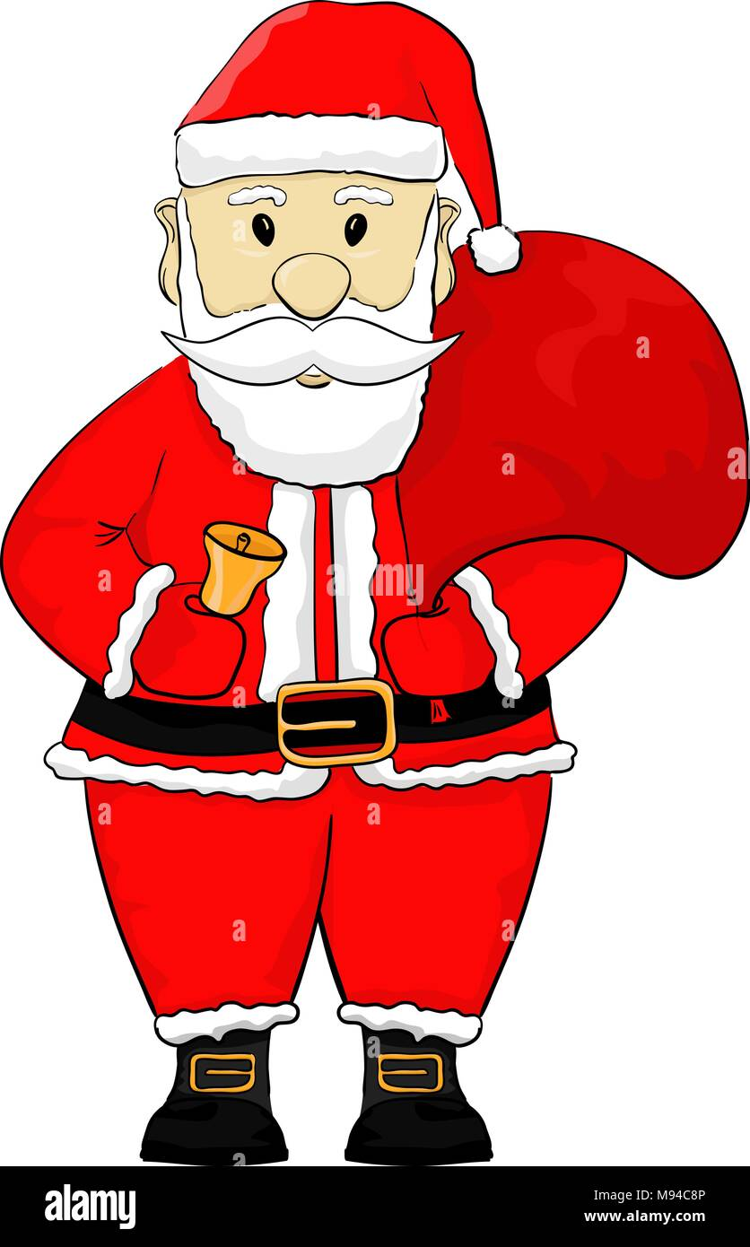 Father Xmas Cartoon Pics : father, cartoon, Santa, Claus., Cartoon, Drawing, Stock, Vector, Image, Alamy