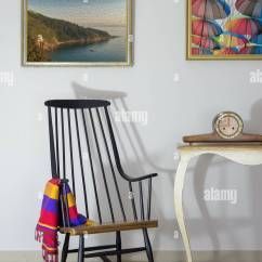 Rocking Chair Antique Styles Velvet Covers Wholesale China Interior Shot Of Vintage And Desktop Clock On Old Style Table Background Off White Wall With Two Hanged Paintings