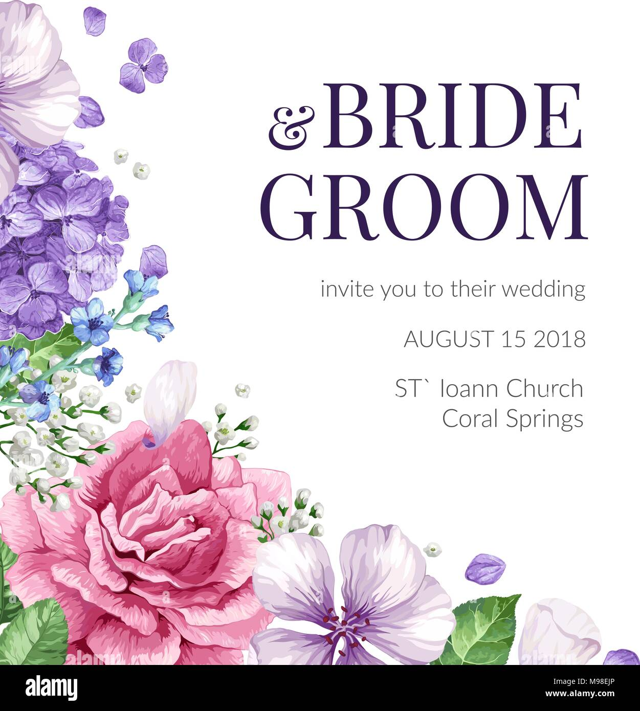 https www alamy com wedding invitation card with flowers in watercolor style on white background template for greeting card image177822702 html