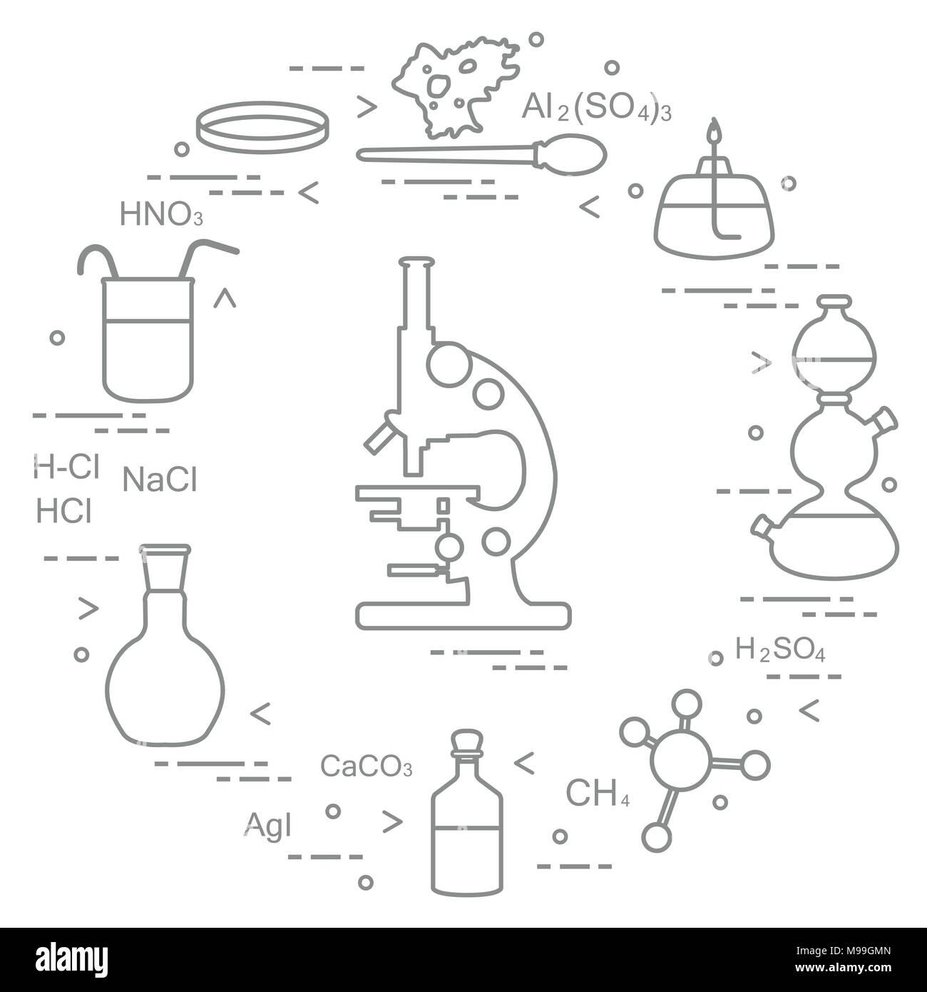 hight resolution of chemistry scientific education elements microscope petri dish dropper flasks camera