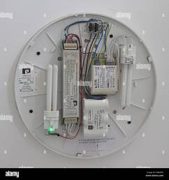 electric light fitting with the cover removed showing the wiring circuit bulbs capacitors batteries and correct connections and electrical symbols  [ 1300 x 1369 Pixel ]