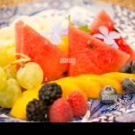 Fruit Platter For Breakfast Tuscany Italy Stock Photo Alamy