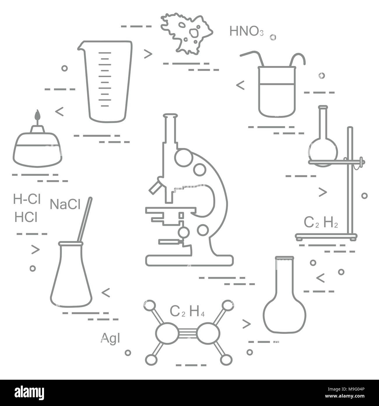 hight resolution of chemistry scientific education elements microscope flasks tripod formulas beaker