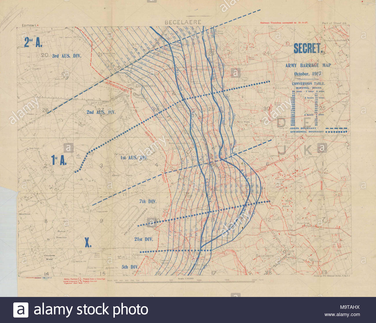 hight resolution of 1 10000 scame artillery barrage map for battle of battle of broodseinde