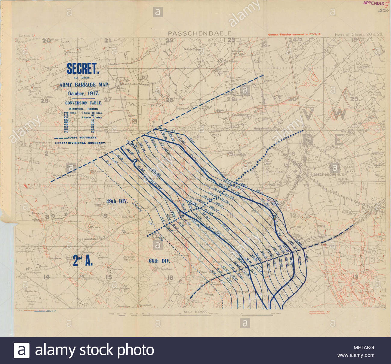 hight resolution of 1 10000 scame artillery barrage map for battle of ii anzac corps at the