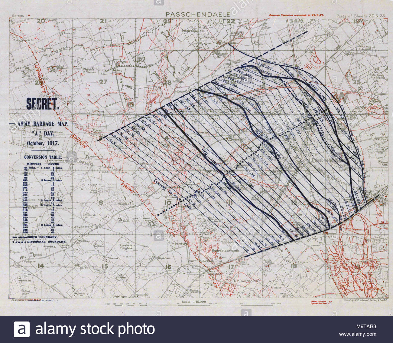hight resolution of 1 10000 scale army artillery barrage map from the first battle of passchendaele during the third battle of ypres
