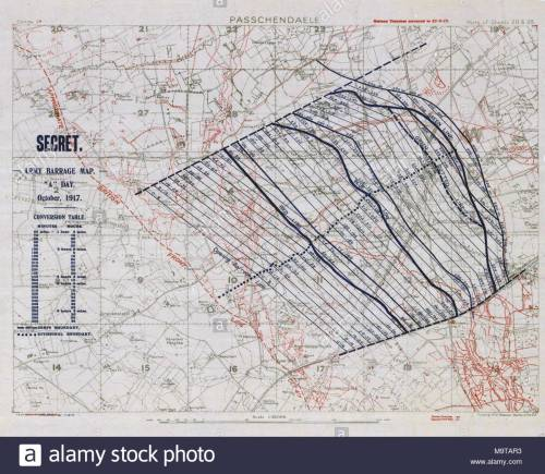 small resolution of 1 10000 scale army artillery barrage map from the first battle of passchendaele during the third battle of ypres