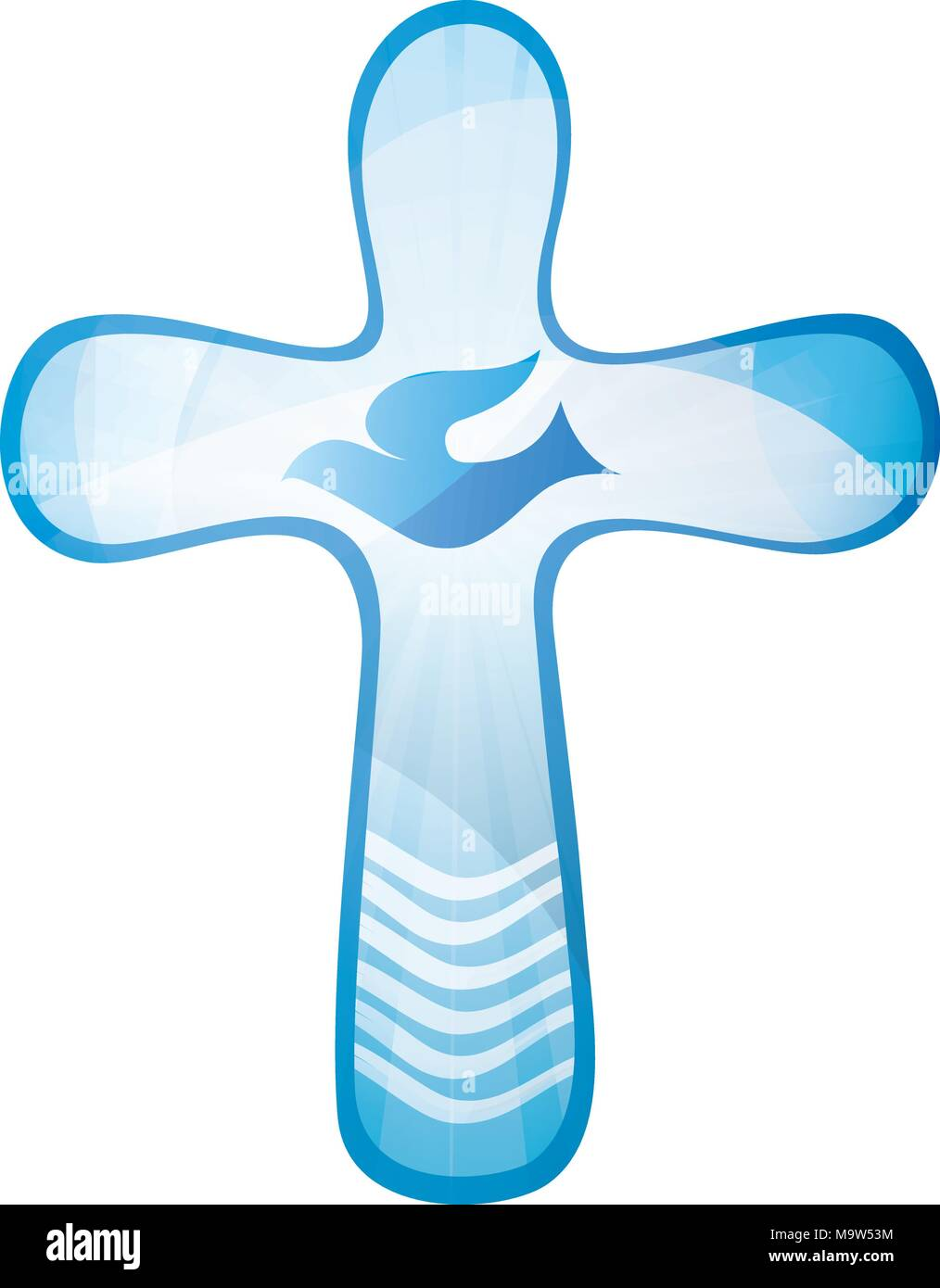 hight resolution of baptism christian cross with dove and waves of water on a blue background religious sign isolated