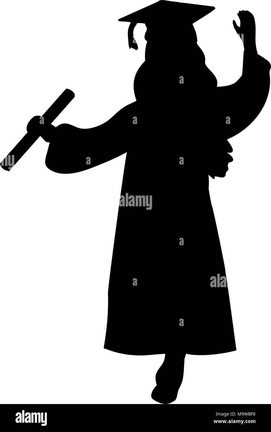 Graduation Silhouette Girl : graduation, silhouette, Silhouette, Graduation, Finished, Studying, Stock, Vector, Image, Alamy