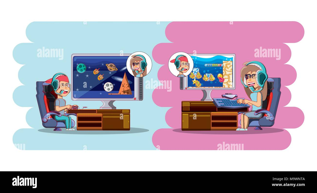 Kids Gaming Stock Vector Images