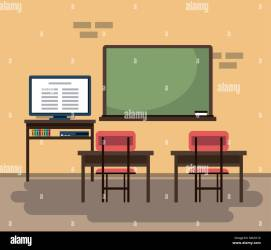 Empty classroom cartoon Stock Vector Image & Art Alamy