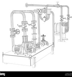 wire frame industrial equipment of oil pump 3d illustration [ 1300 x 1232 Pixel ]