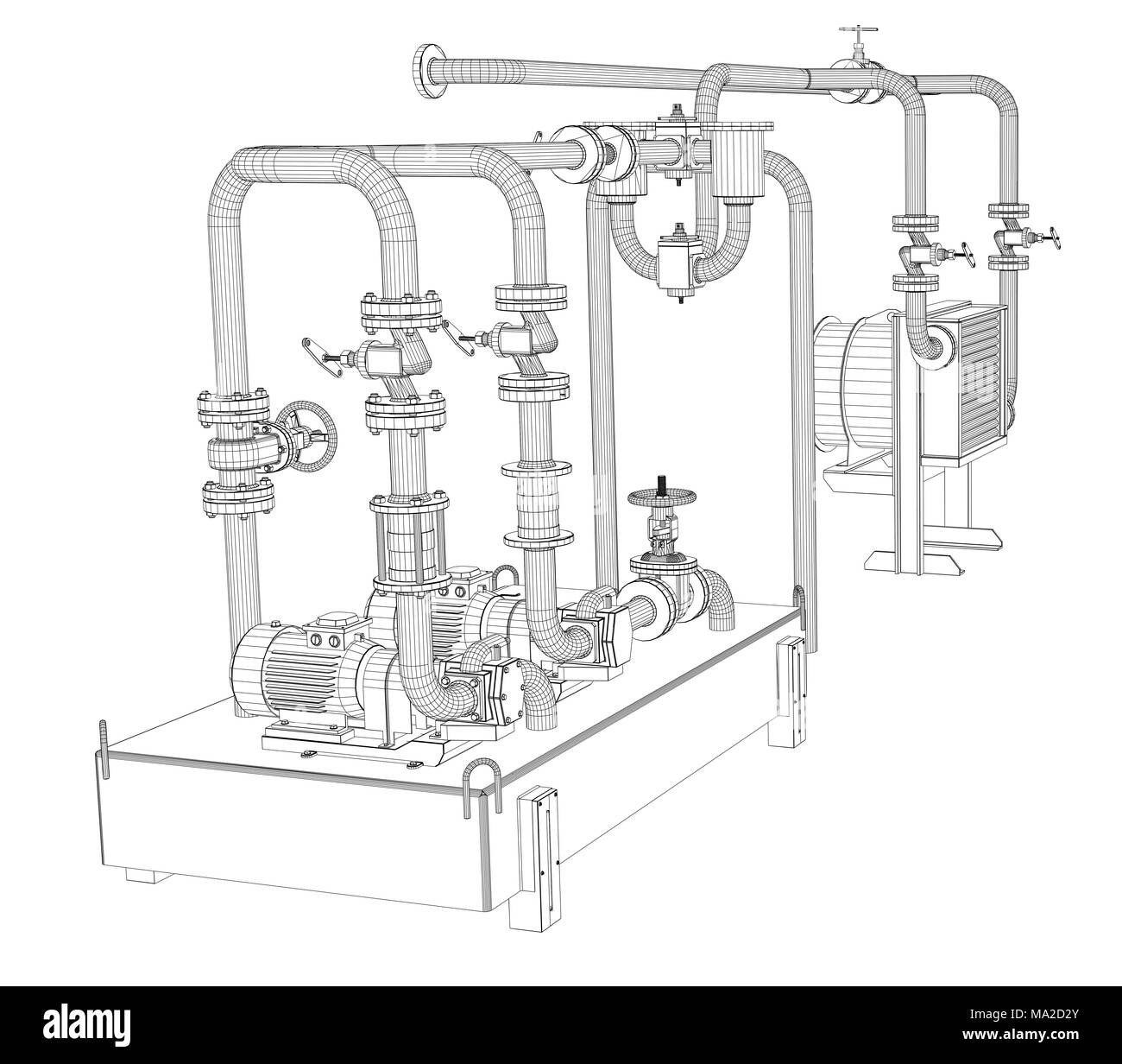 hight resolution of wire frame industrial equipment of oil pump 3d illustration