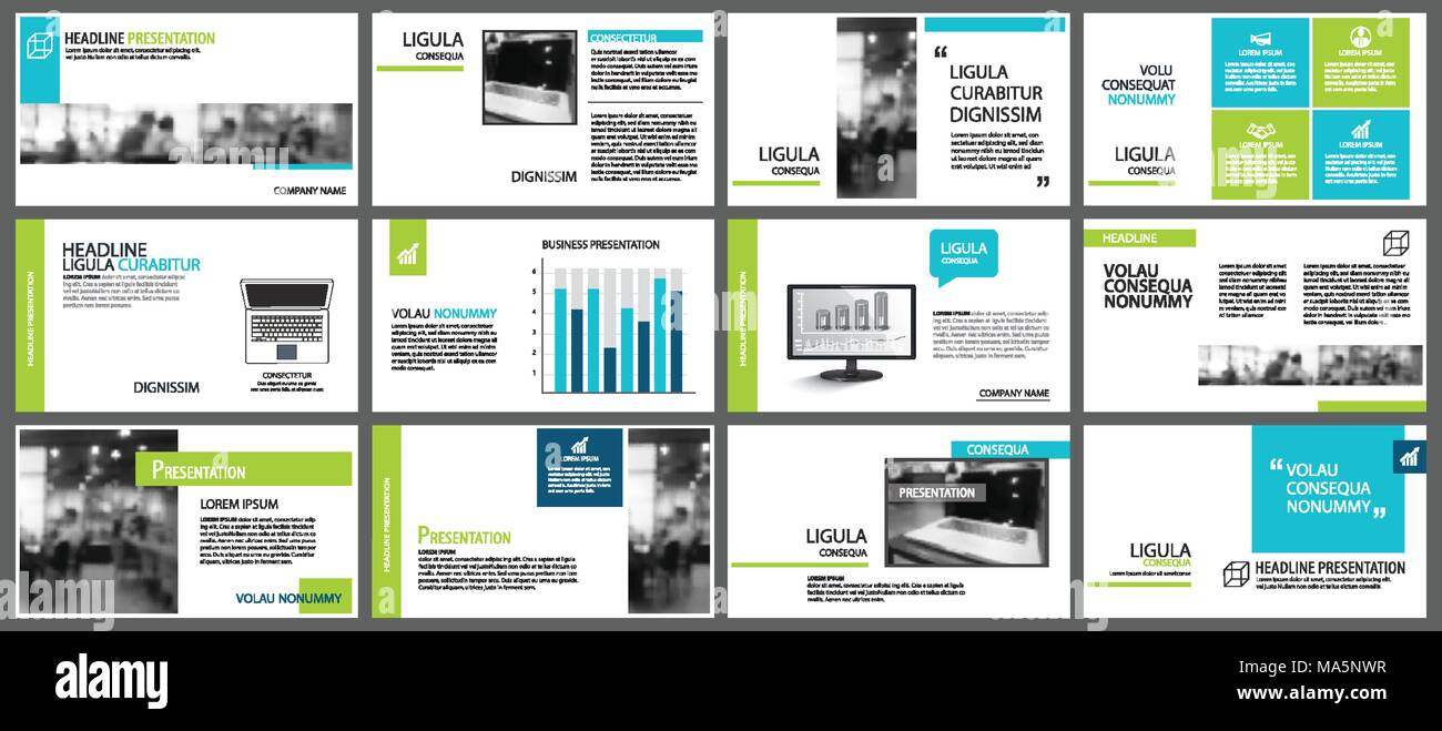 Blue And Green Element For Slide Infographic On Background. Presentation  Template. Use For Business Annual Report, Flyer, Corporate Marketing,  Leaflet