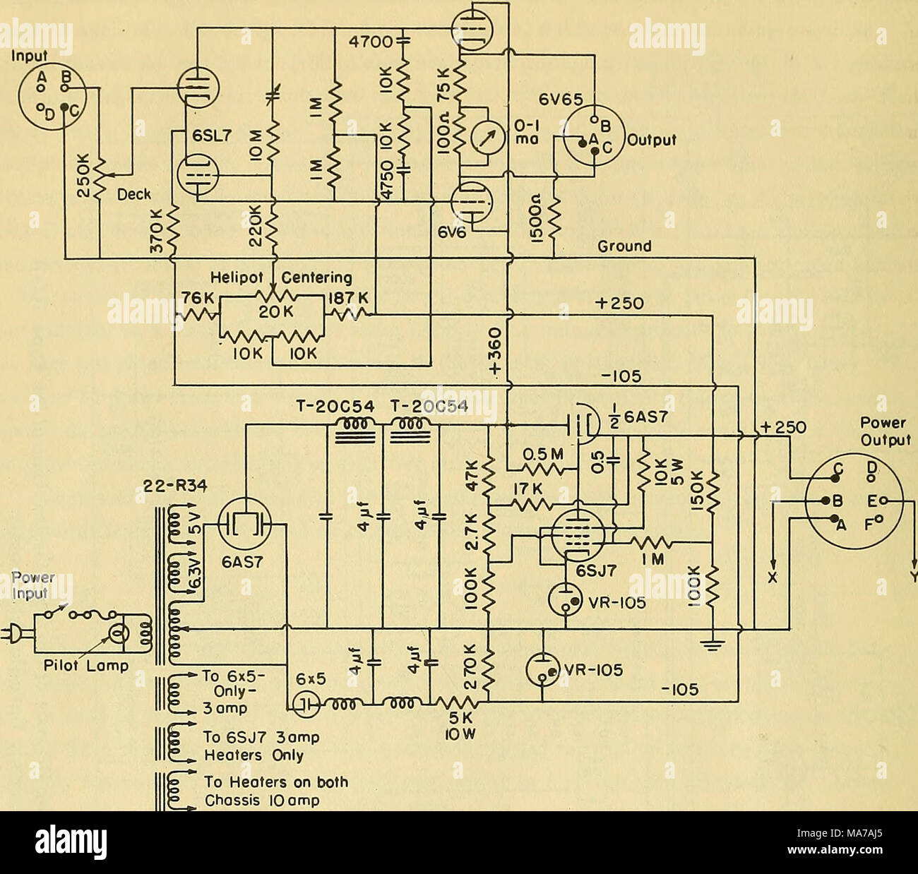 hight resolution of an electronic wave height measureing apparatus to 6sj7 3ampto 6sj7 3amp heaters only to heaters on both ctiassis 10 amp figure 5 schematic wiring diagram of