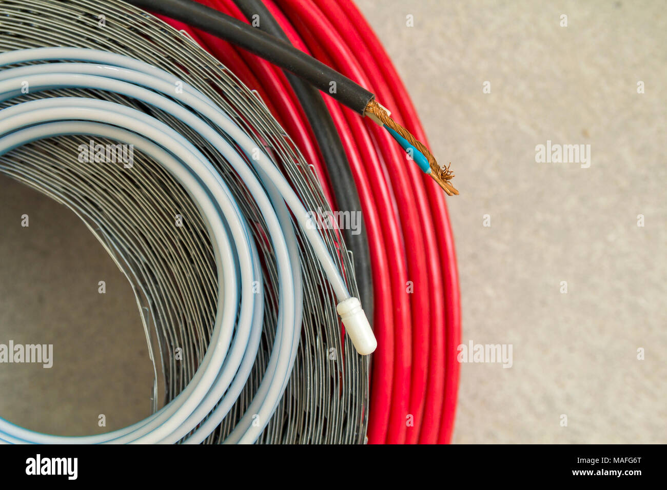 hight resolution of heating floor system wires and cables renovation and construction concept comfort house