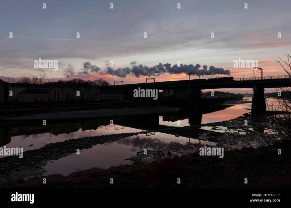 medium resolution of west coast railways steam locomotive 48151 crossing carlisle bridge lancaster river lune making