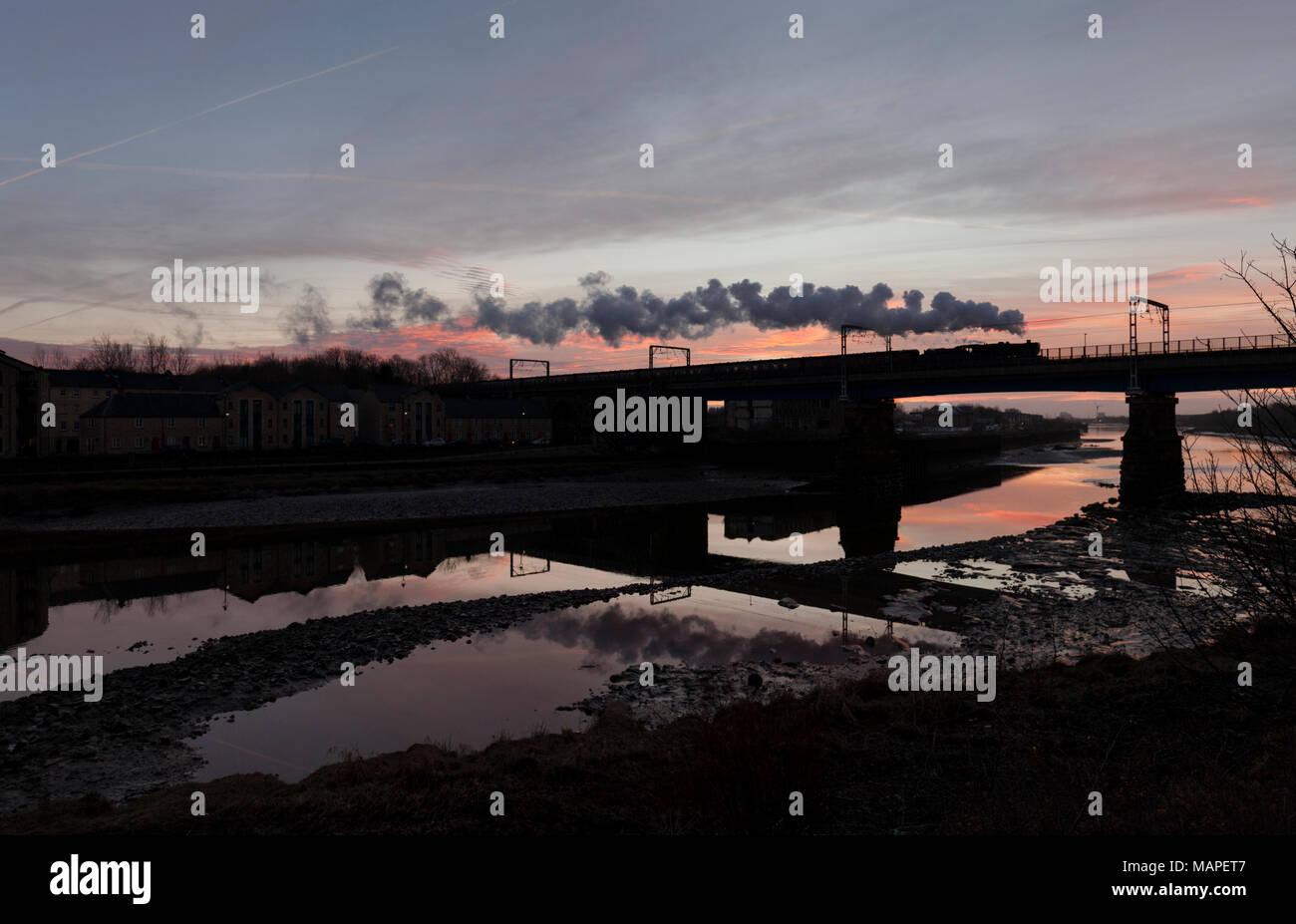 hight resolution of west coast railways steam locomotive 48151 crossing carlisle bridge lancaster river lune making