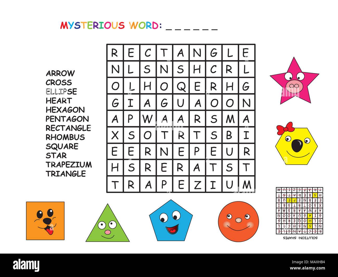 Game For Children Crossword For Shapes Stock Photo