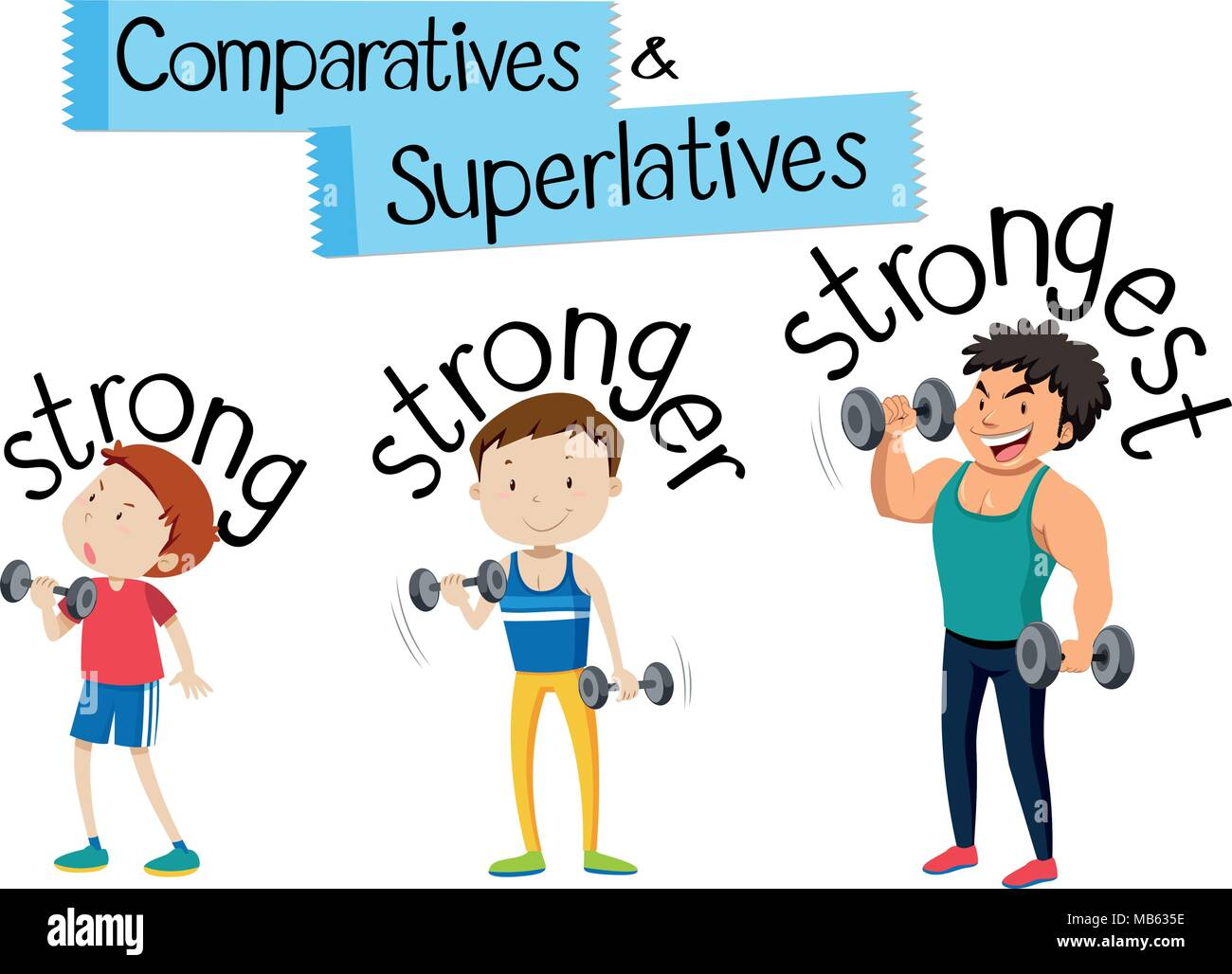 Comparatives And Superlatives Strong Illustration Stock
