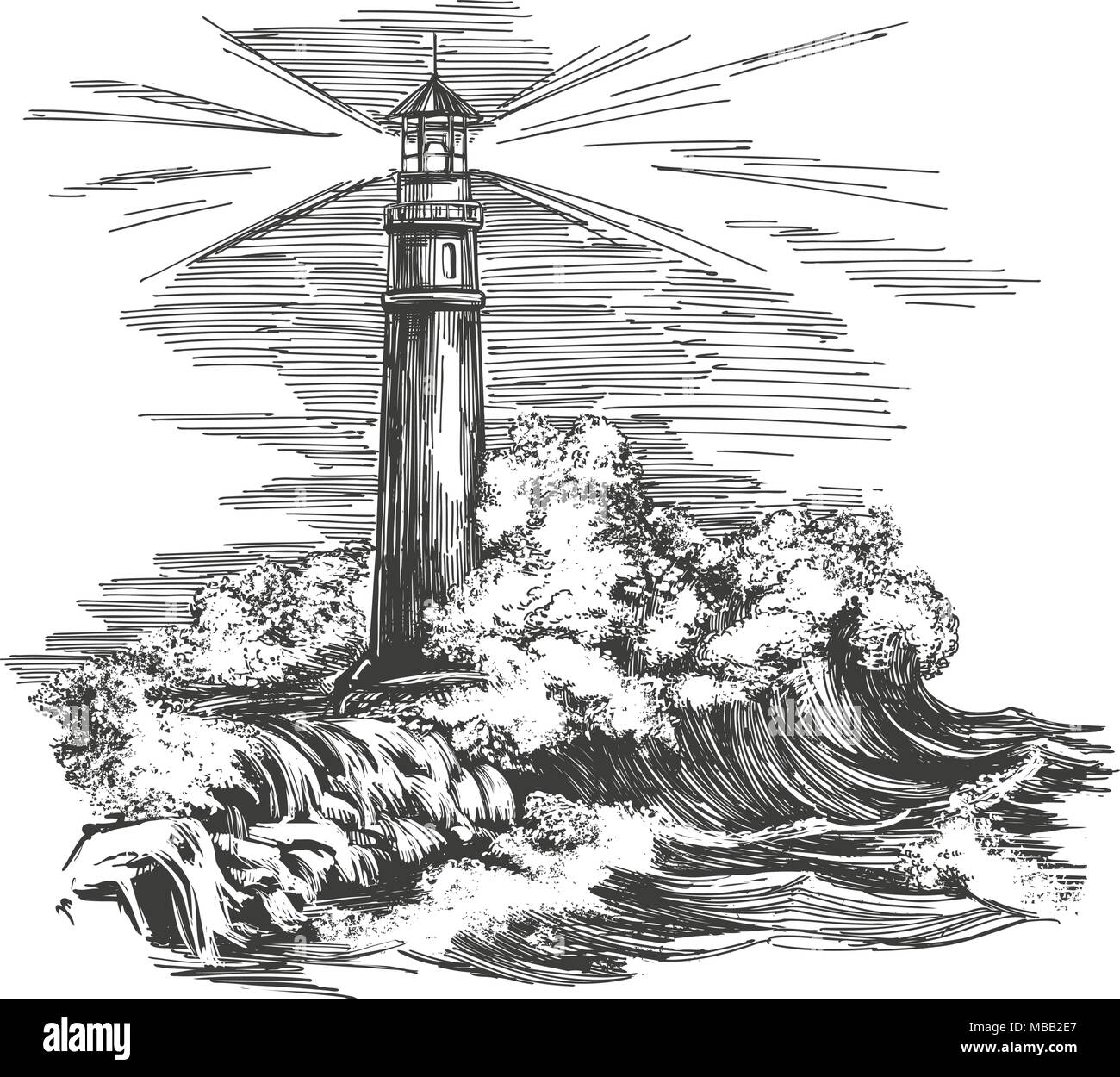lighthouse lighthouse in the dark and sea landscape storm hand drawn vector illustration