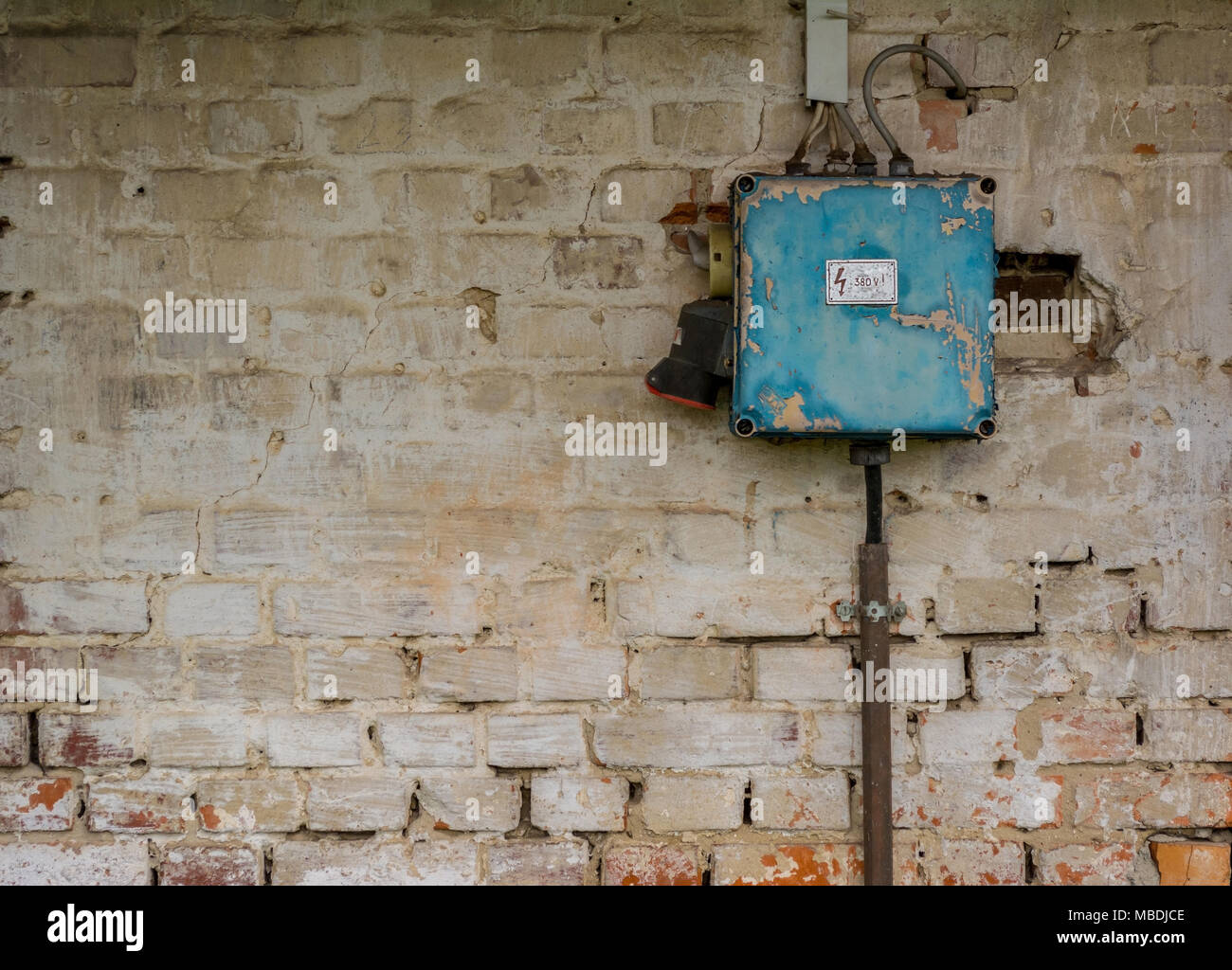 hight resolution of old bad rusty switch box on weathered wall stock image
