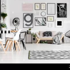 Sofa Art Gallery Natural Bed Dining Table With Chairs And Blanket Knot Pillow In A White Living Room Interior