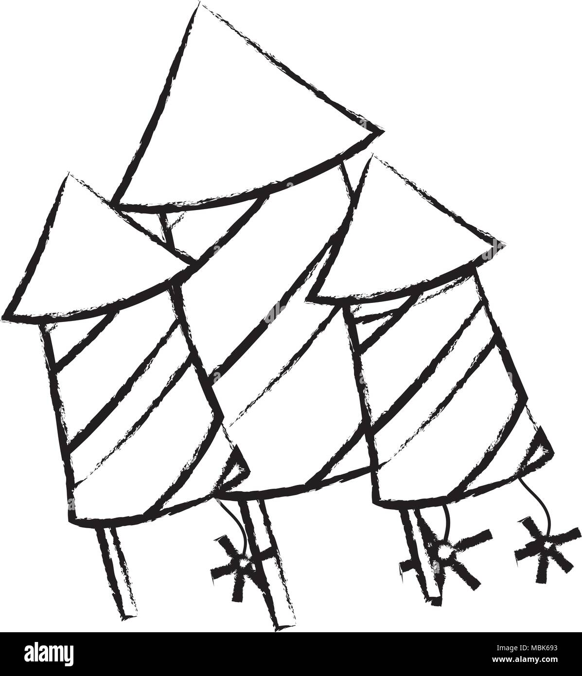 Sketch of rocket firework icon over white background vector illustration stock image