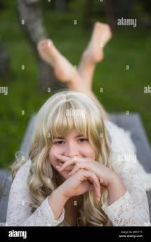 Caucasian Teen Girl Bare Feet Stock &