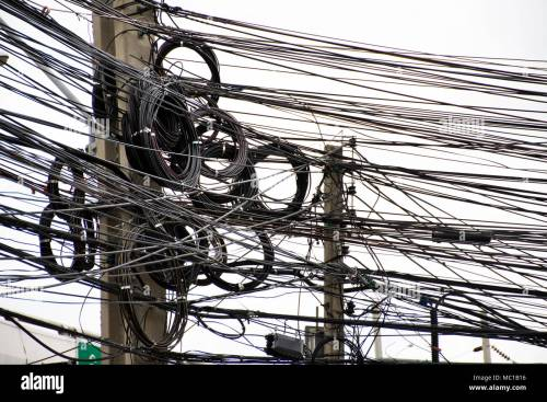small resolution of many wires messy with power line cables transformers and phone lines on old electricity pillar or utility pole at beside road in bangkok thailand