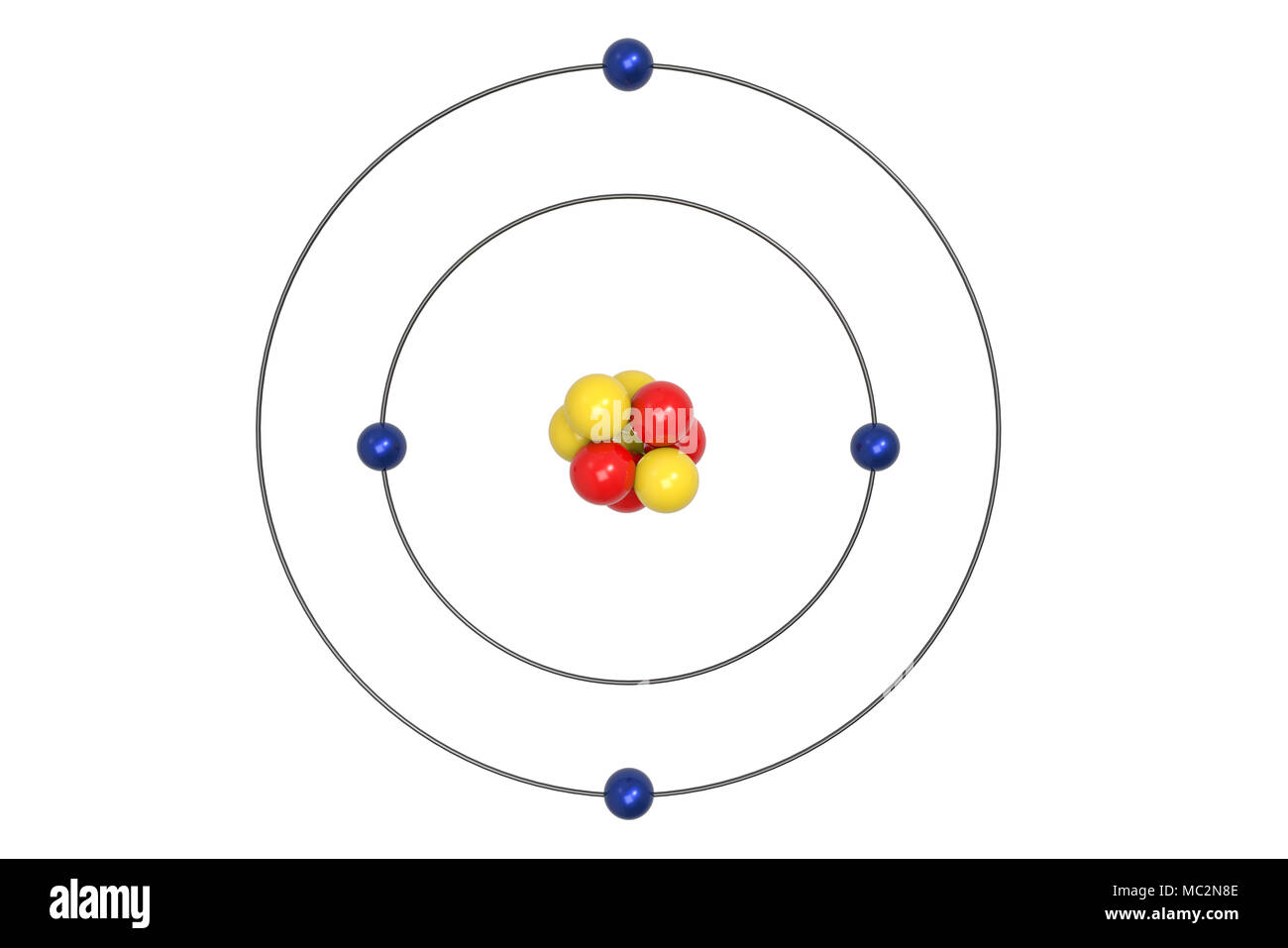 hight resolution of beryllium atom bohr model with proton neutron and electron 3d illustration stock image