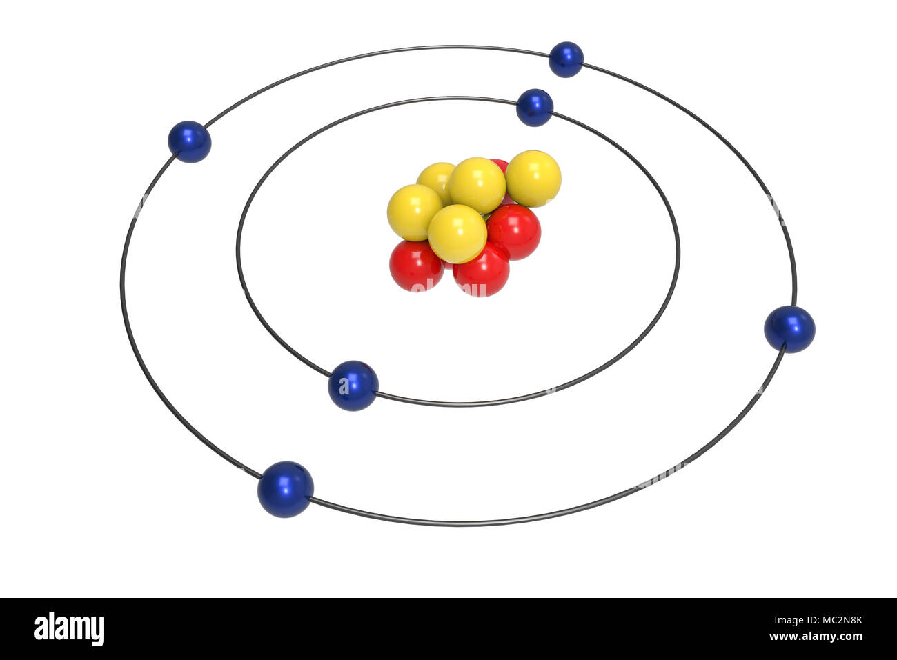 hight resolution of bohr model of carbon atom with proton neutron and electron science and chemical concept