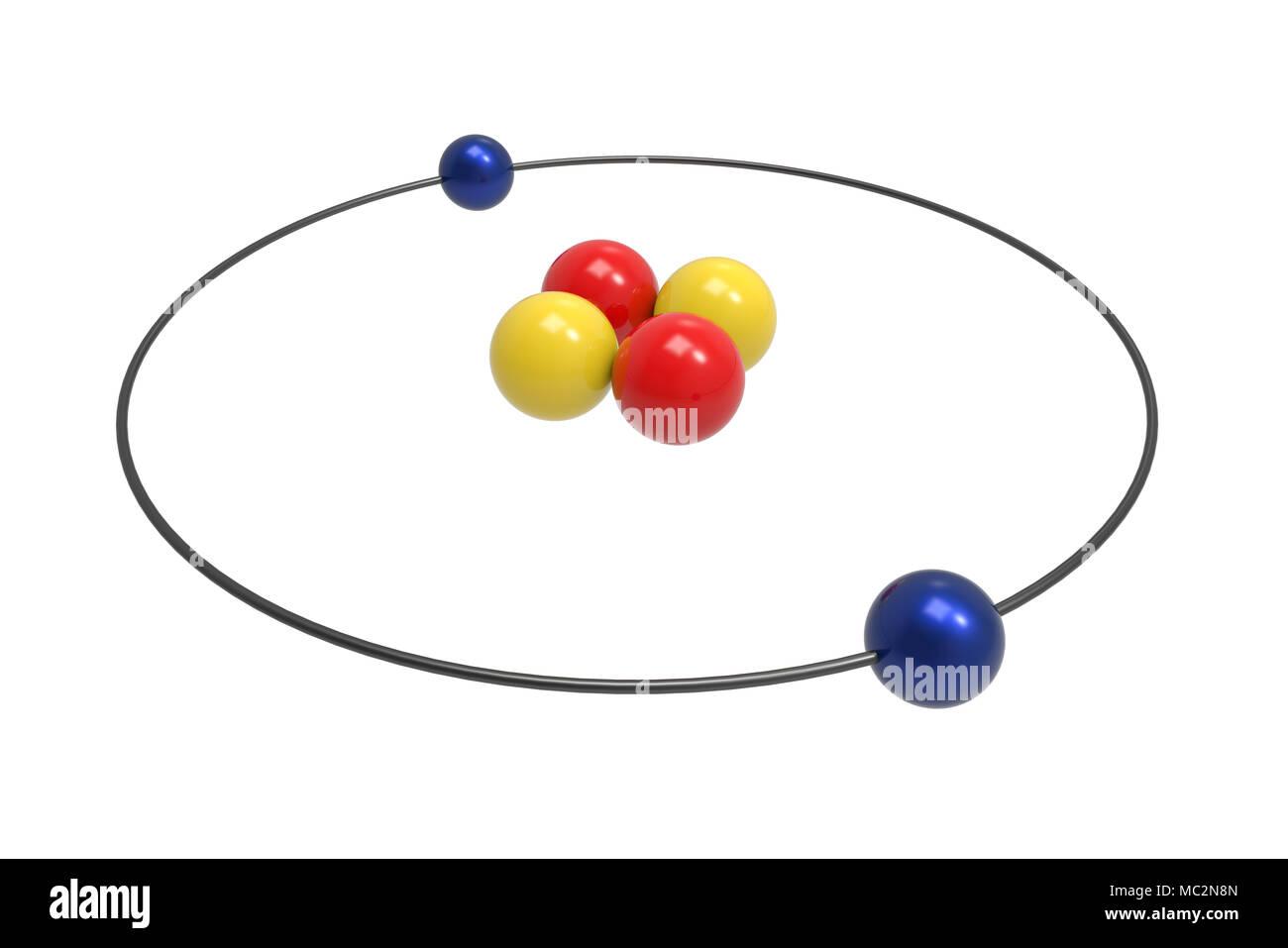 Bohr Model Of Helium Atom With Proton Neutron And