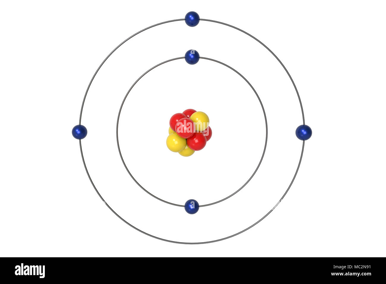 hight resolution of boron atom bohr model with proton neutron and electron 3d illustration stock image